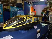 Le véhicule solaire sur le stand de l'ANFA au  Mondial de l'Automobile